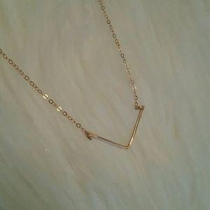 Gold V shaped necklace choker
